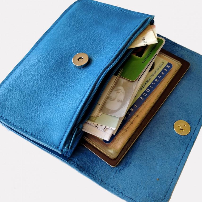 Pochette bandoulière en cuir | PREICEUX CUIR NOIR