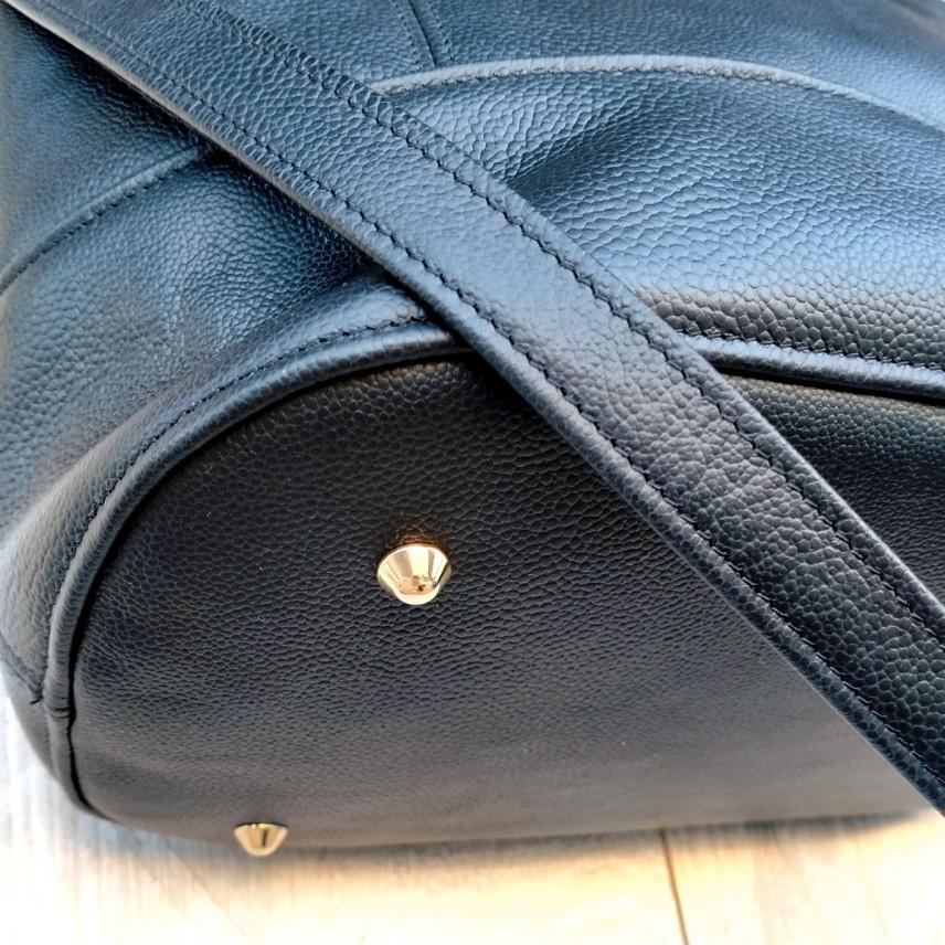 Pochette bandoulière en cuir | PANACHE CUIR NOIR 1
