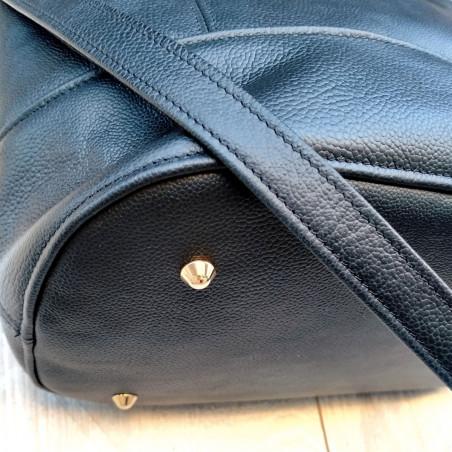 Pochette bandoulière en cuir | PANACHE CUIR NOIR 2
